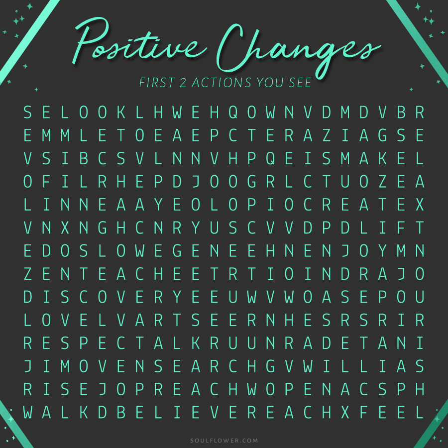 1 positive changes - Inspirational Word Finds for the New Year