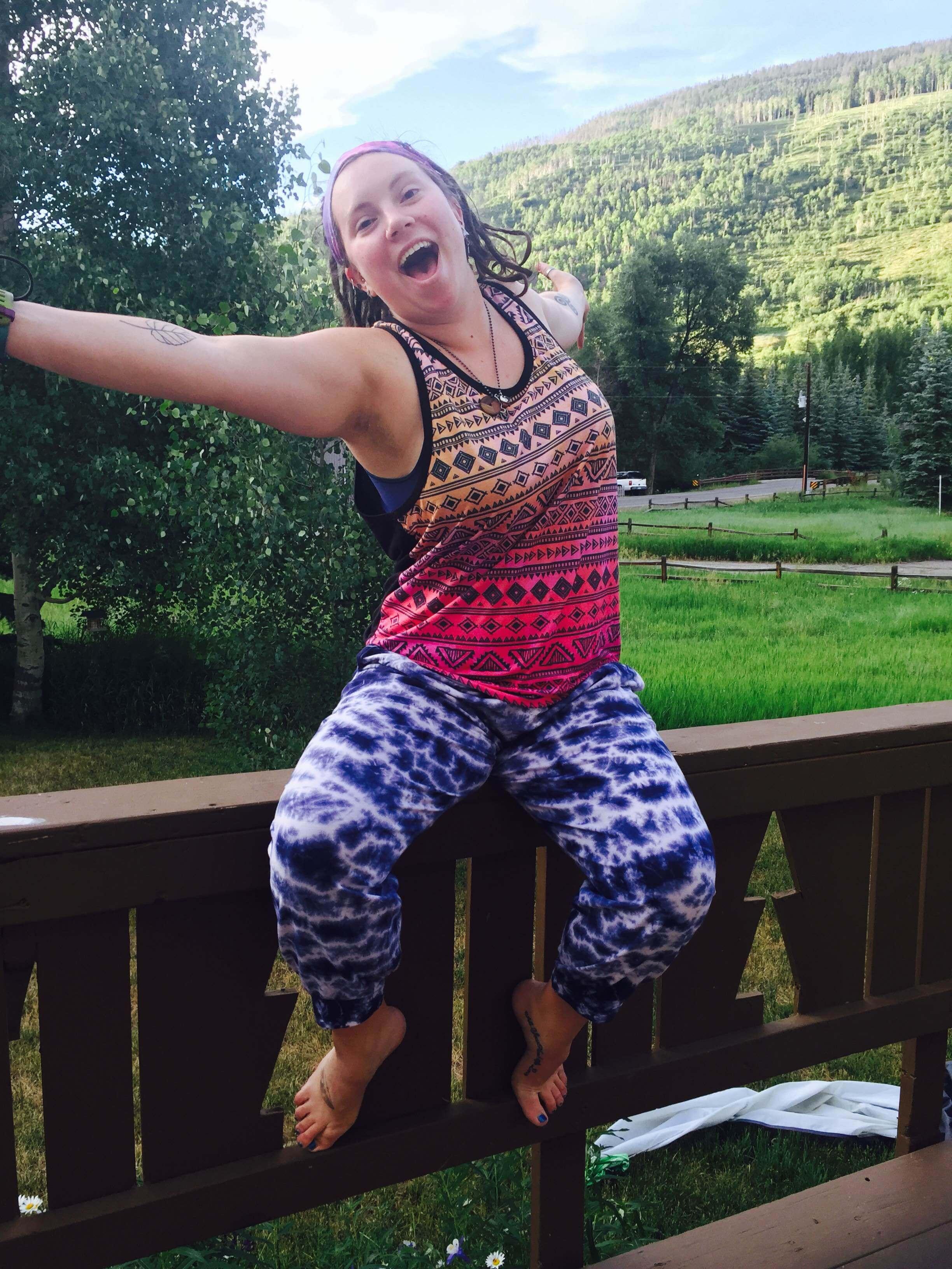 Amanda tie dye harem 2 - Indoor Plumbing for the Gold!
