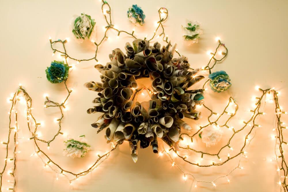 DIY Upcycled Magazine Wreath
