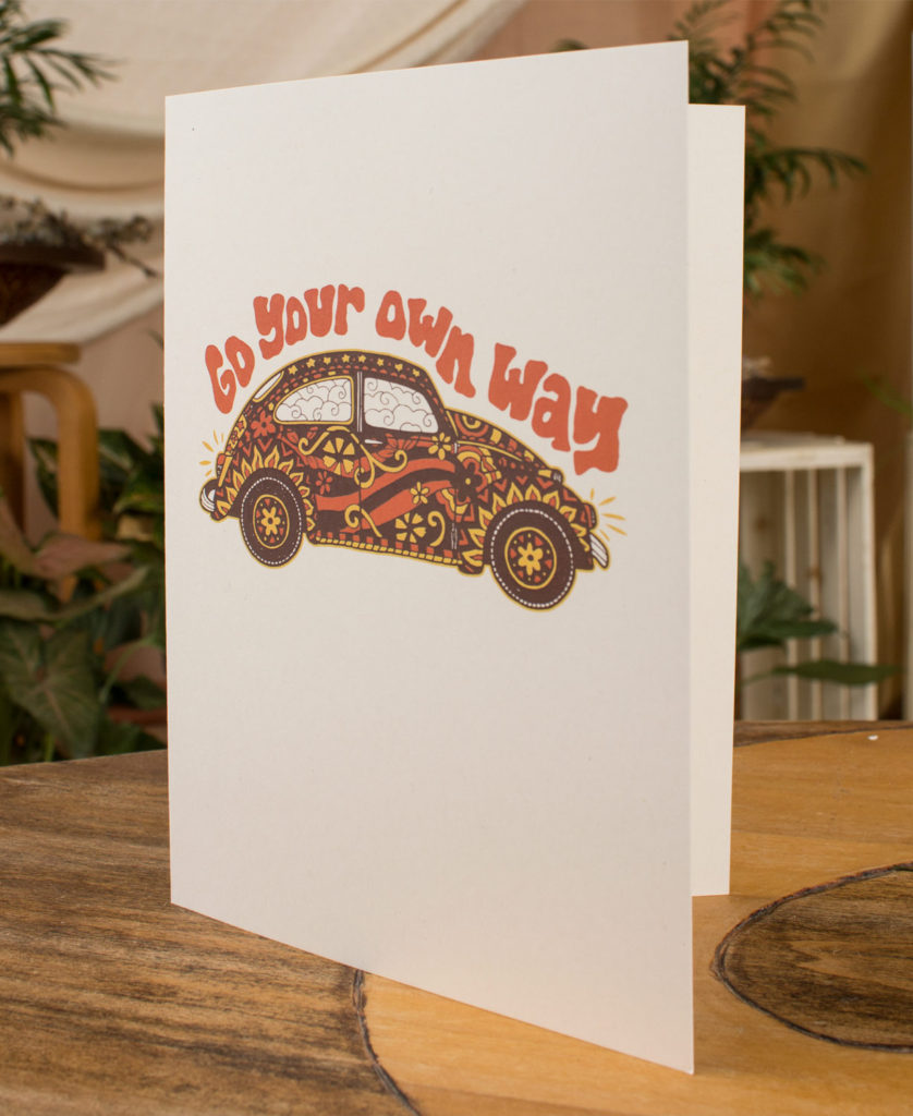 beetle recycled greeting card 838x1024 - Go Your Own Way