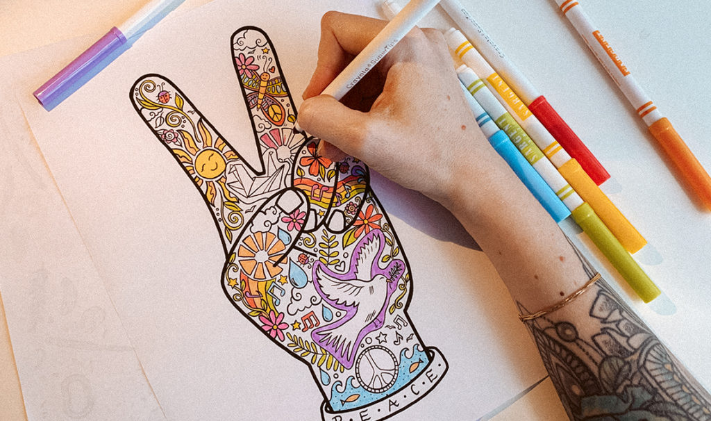 color peace sign hand 1024x606 - Free Printable Coloring Page: Peace Fingers