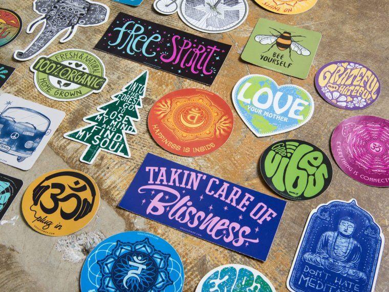 cool hippie stickers boho stickers sticker pile 760x570 - Hippie Bumper Stickers - Cool Hippie Stickers