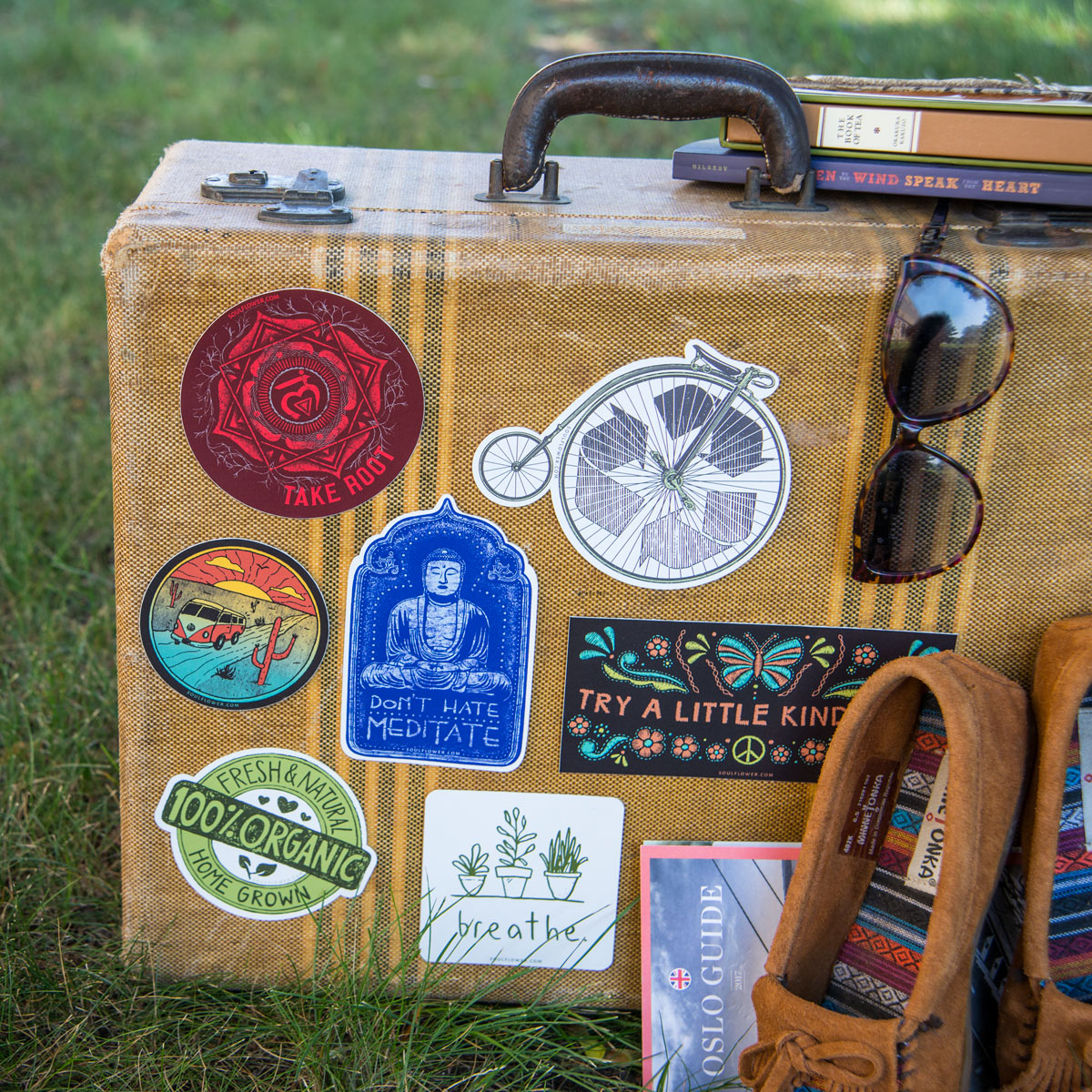 cool hippie stickers boho stickers suitcase - Hippie Bumper Stickers - Cool Hippie Stickers
