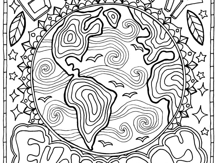 earth day coloring page 760x570 - Free Earth Day Coloring Page