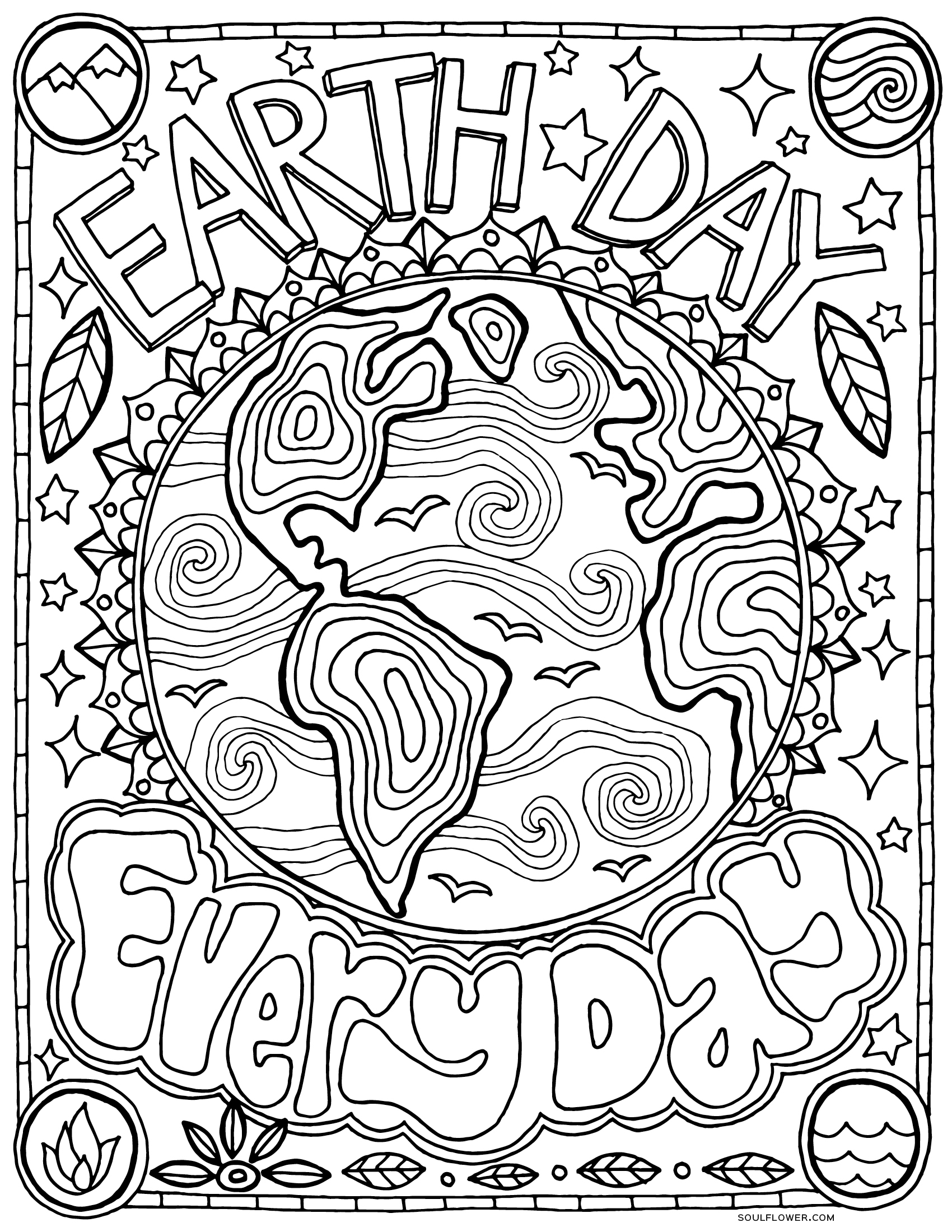Free Earth Day Coloring Page Earth Day Every Day