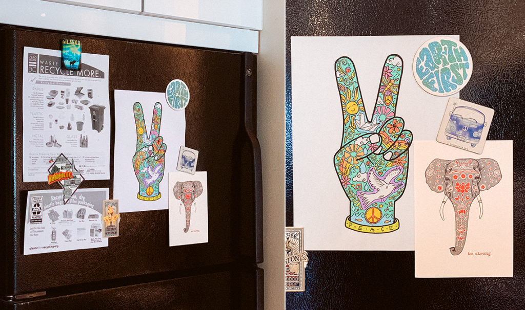 funky fridge magnets 1024x606 - Free Printable Coloring Page: Peace Fingers