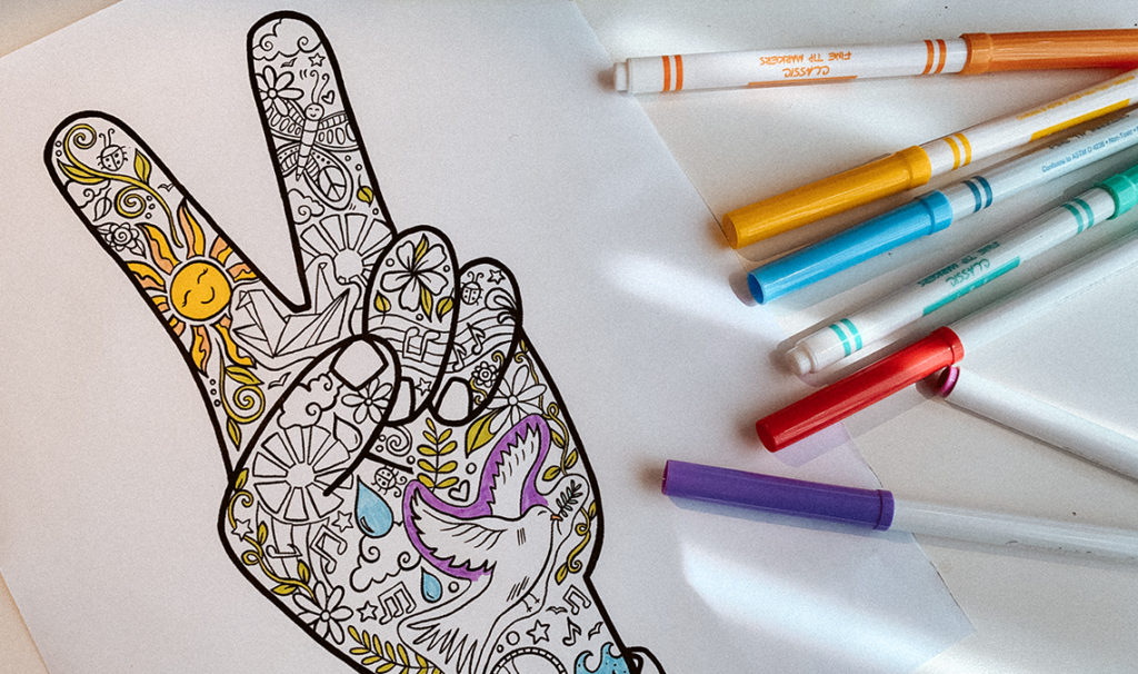 funky peace fingers illustration 1024x606 - Free Printable Coloring Page: Peace Fingers