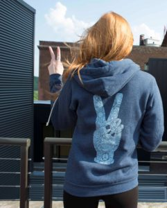 Cool boho gifts for free spirits - peace fingers hoody