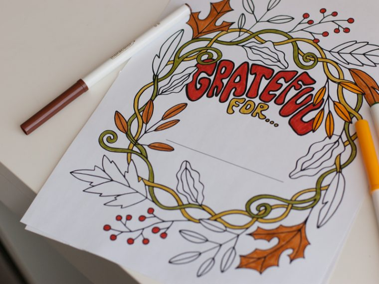 grateful 1 760x570 - Thanksgiving Coloring Page - Grateful Coloring Page