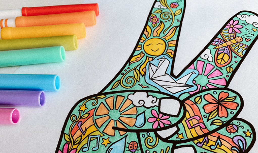 hippie coloring page 1024x606 - Free Printable Coloring Page: Peace Fingers