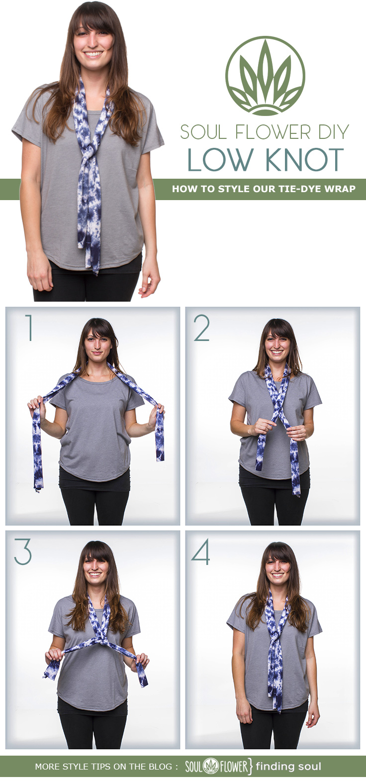 low knot - 6 Ways to Style Our Tie-Dye Wrap