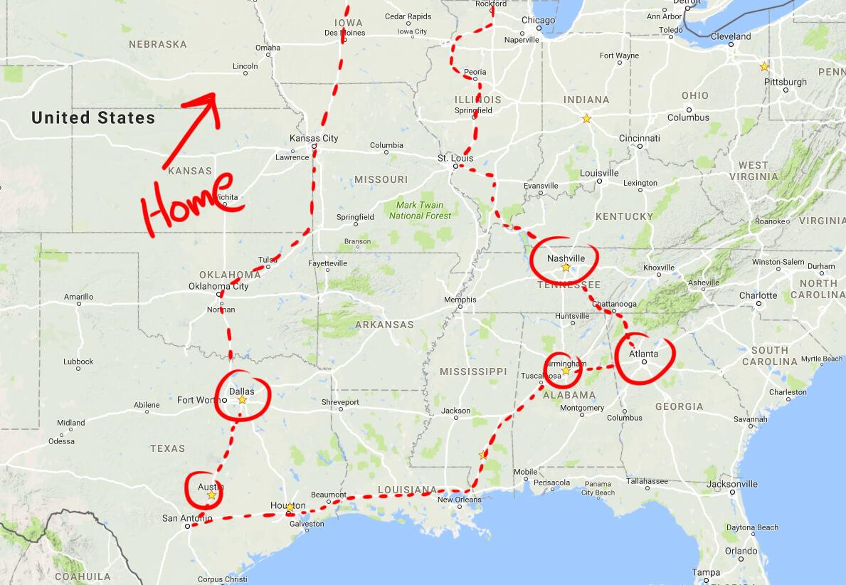 map - Cloud Cult Tour Diary #1
