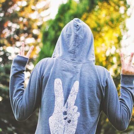 peace fingers symbol 428x430 - Peace Hoody
