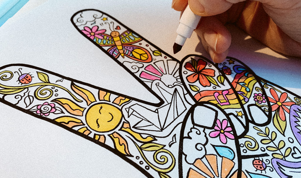 print at home coloring 1024x606 - Free Printable Coloring Page: Peace Fingers