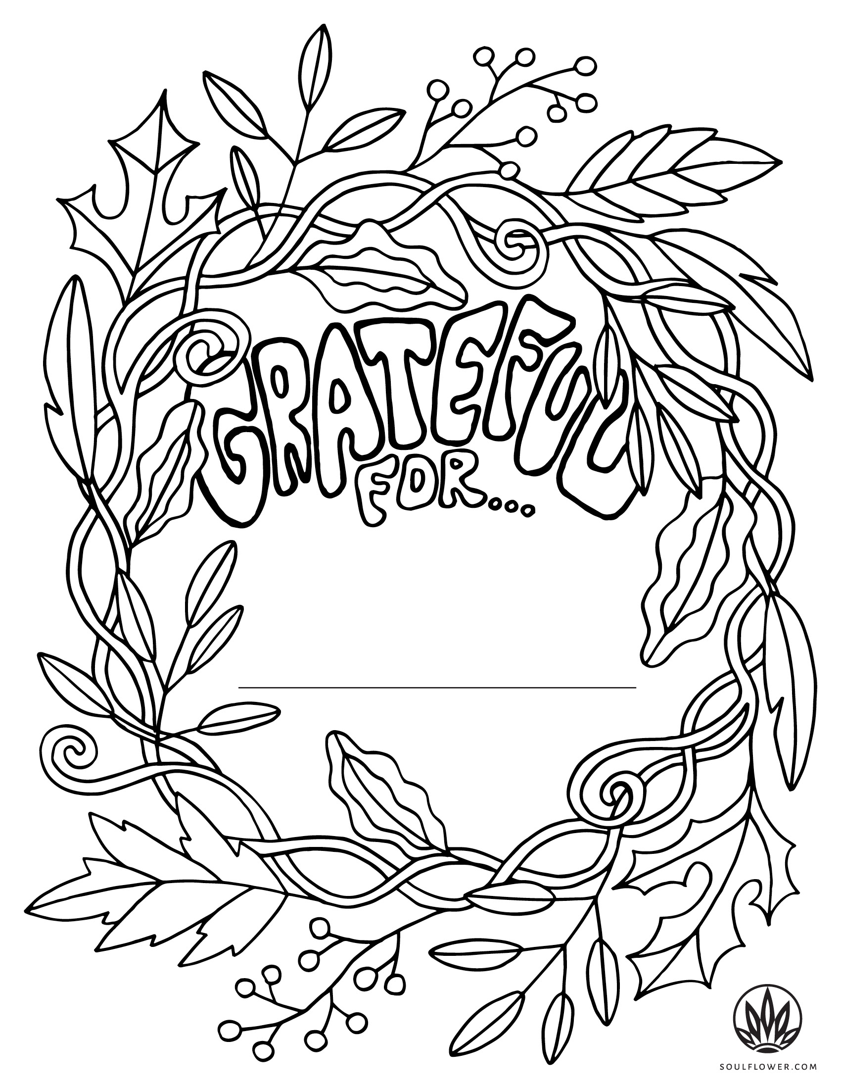 sf thanksgiving coloring page grateful for - Thanksgiving Coloring Page - Grateful Coloring Page