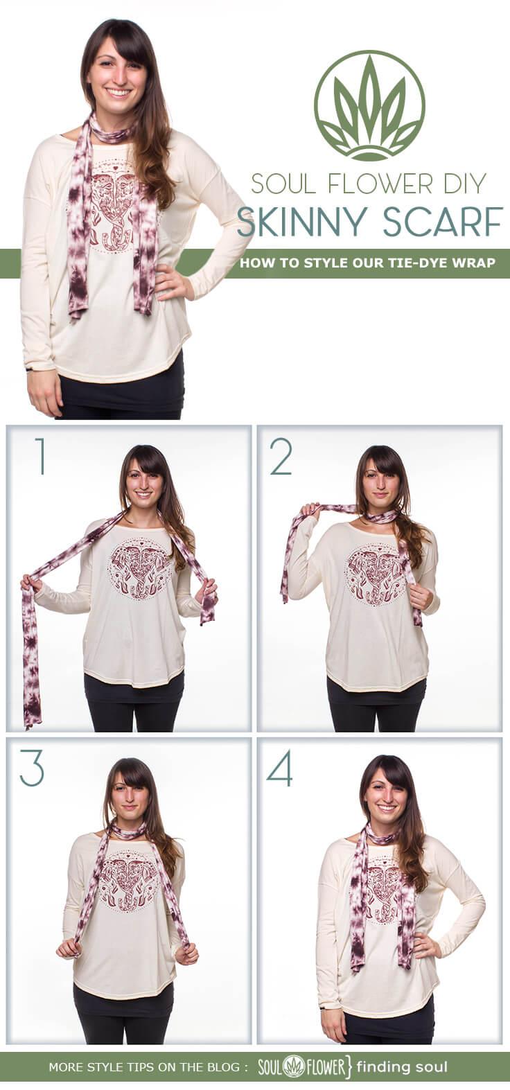 skinny scarf - 6 Ways to Style Our Tie-Dye Wrap