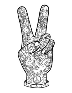 soul flower peace fingers free coloring page 232x300 - Free Printable Coloring Page: Peace Fingers