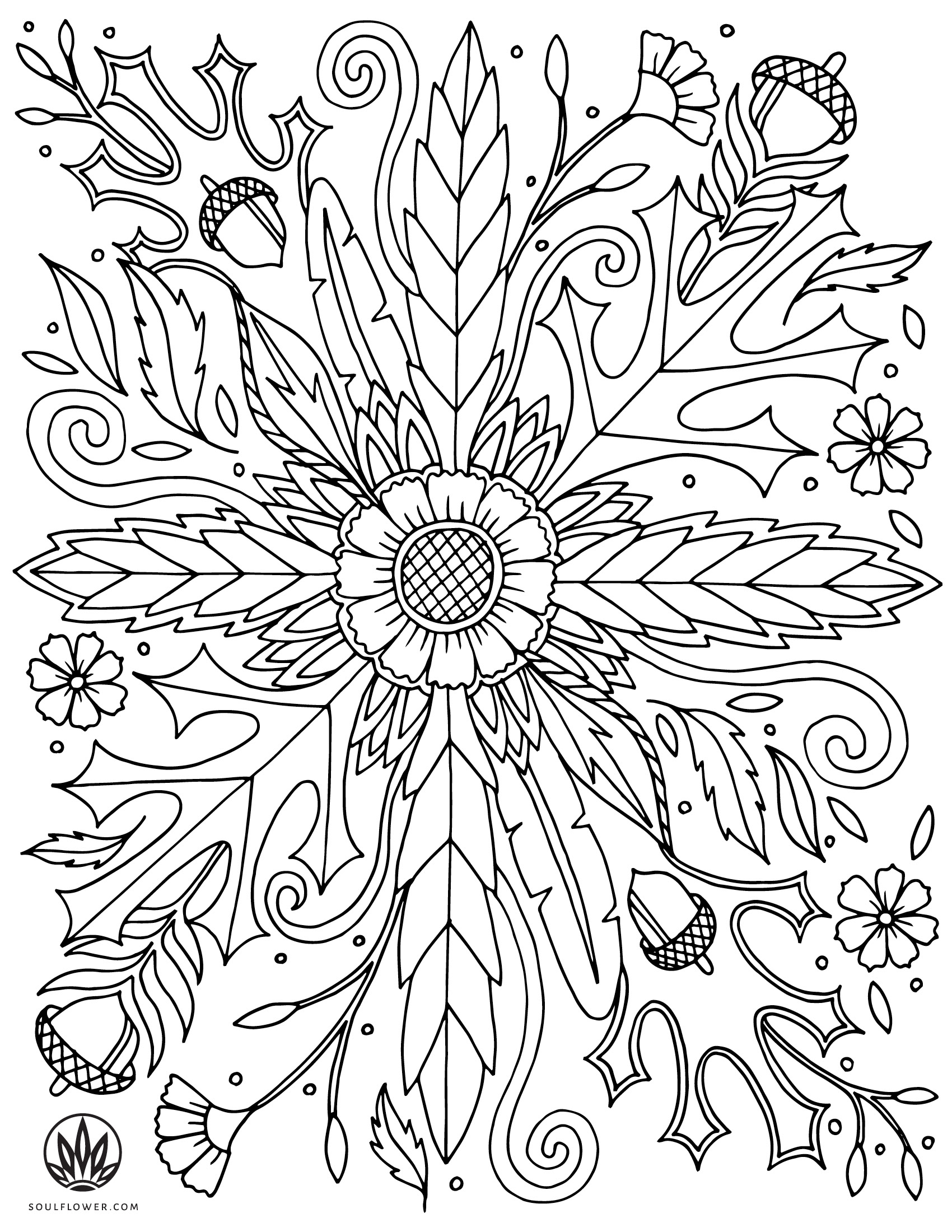 soulflower coloring page thanksgiving 1 - DIY Thanksgiving Coloring Page