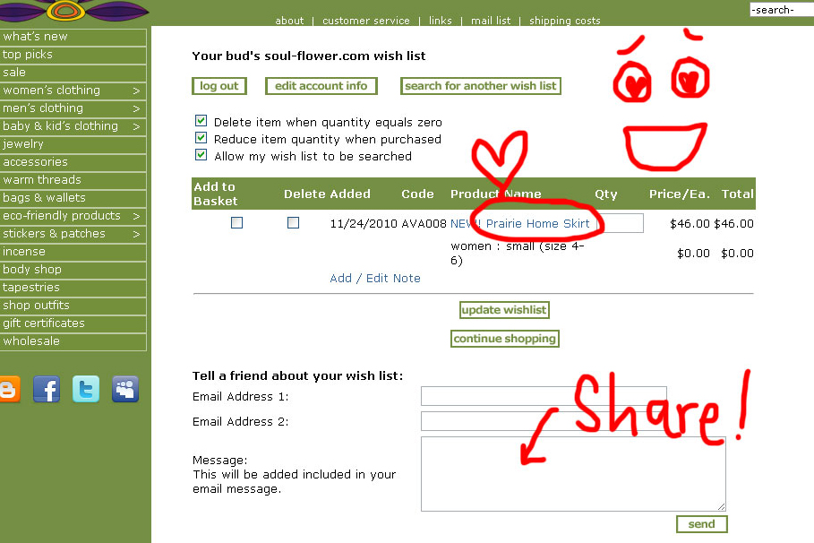 7 wishlist share - How to Create a Wishlist on Soul-Flower.com