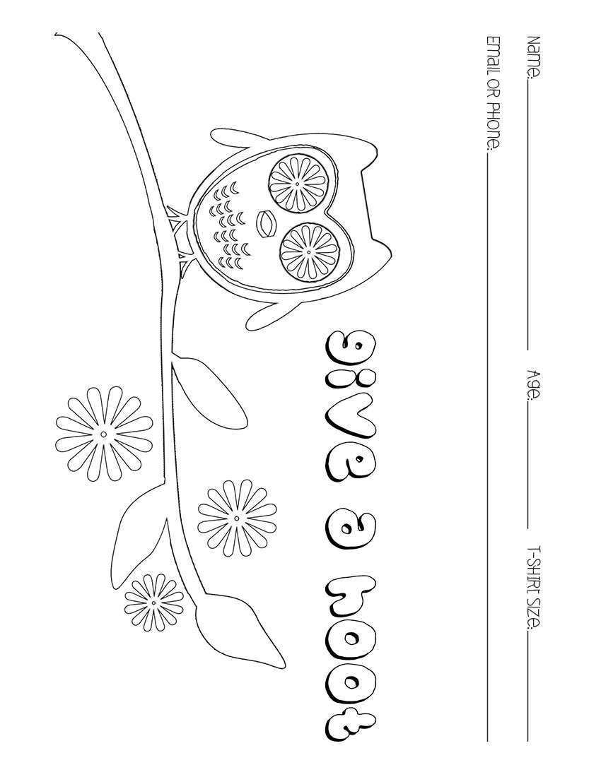 Give a Hoot owl coloring page