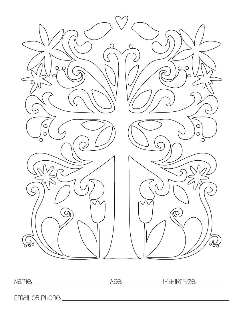 Coloring pages of flower buds -  Symmetree Symmetrical Tree Coloring Book Page